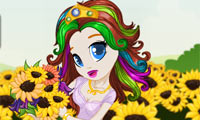 Online free browser game: Sunflower Princess Hairstyles