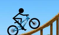 Le bonhomme en bâtonnets adore les situations délicates en vélo.