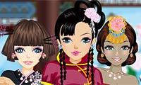 Fais ton choix parmi toute la palette de couleurs et de cultures pour habiller ces jolies filles asiatiques !